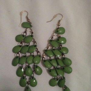 """3"""" Moss Green Chandelier Earrings"""